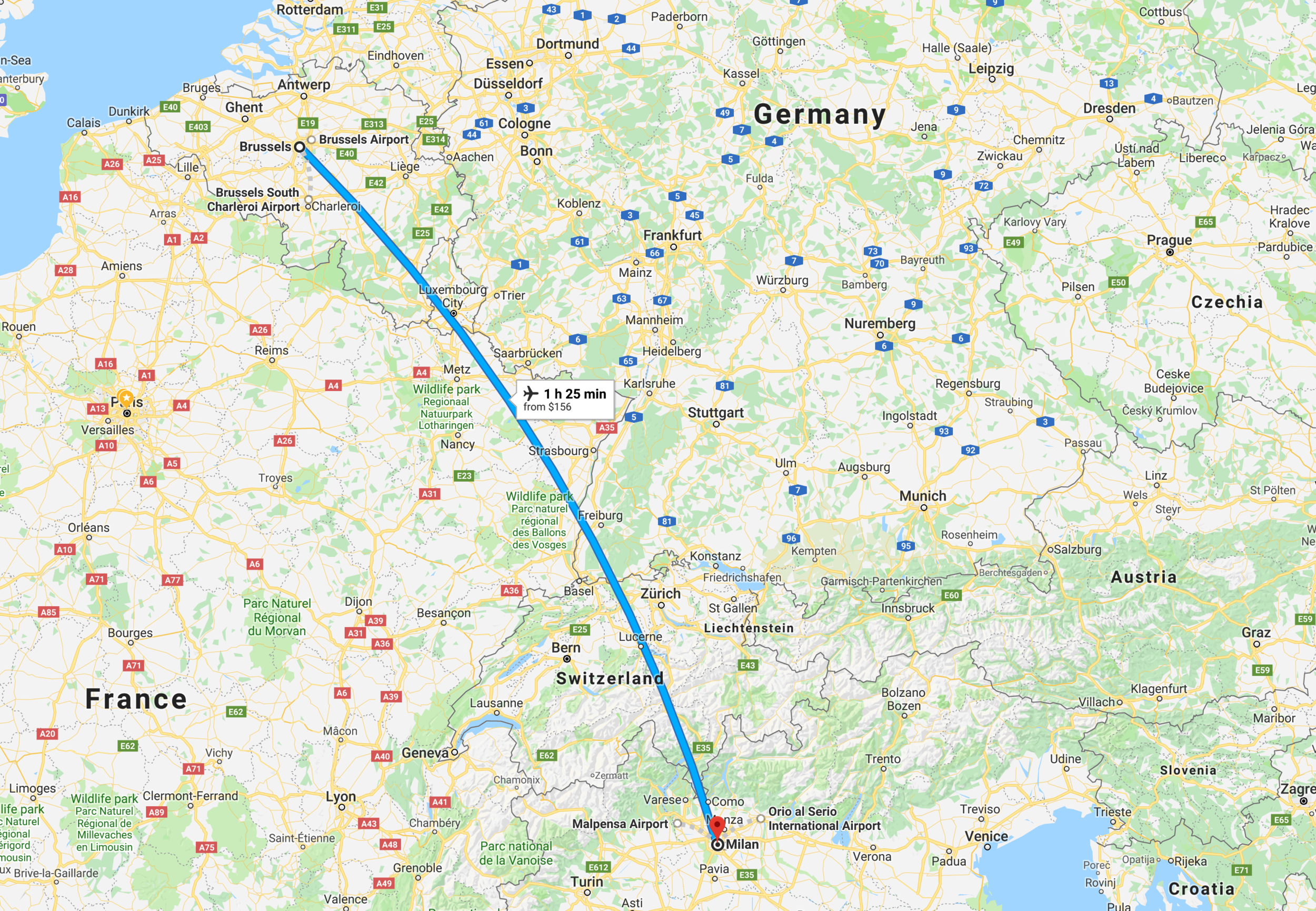 We will fly from Brussels to Milan. ( click to enlarge)