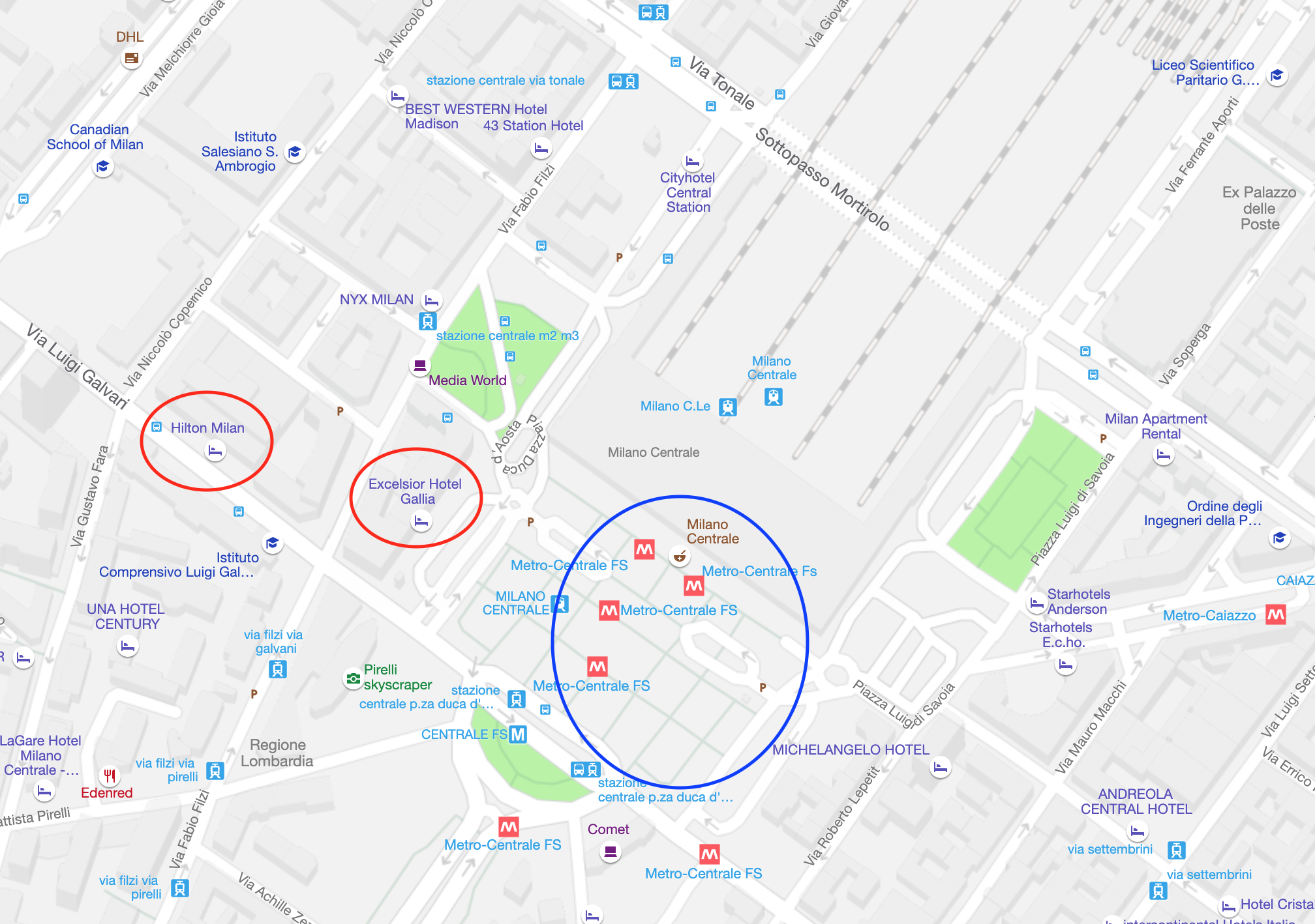 The Hilton Milan and the Excelsior Hotel Gallía are located a block apart and are both close to Milano Centrale.  (click to enlarge)