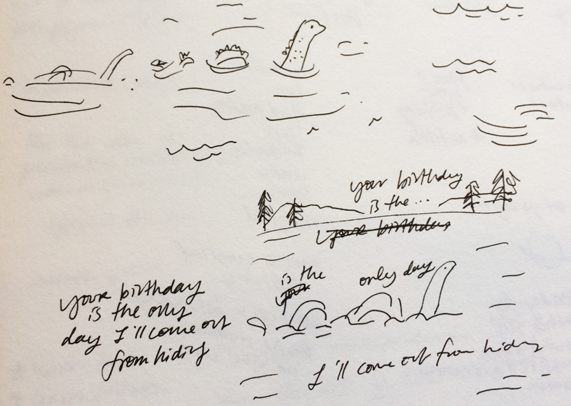Initial sketch and phrasing of the 'Loch Ness Monster' birthday card.