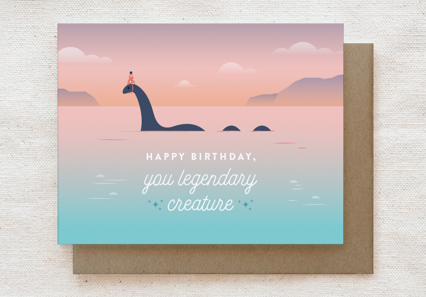 Final design of the 'Loch Ness Monster' birthday card.
