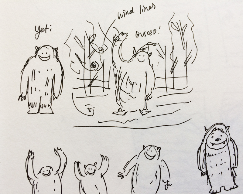 Initial sketches of the 'Yeti' birthday card.
