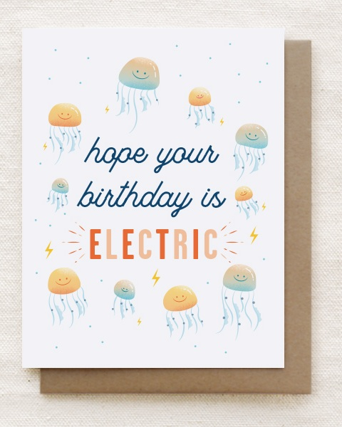 Final design of the 'Electric' birthday card.