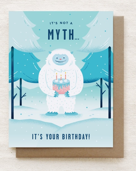Final design of the 'Yeti' birthday card.