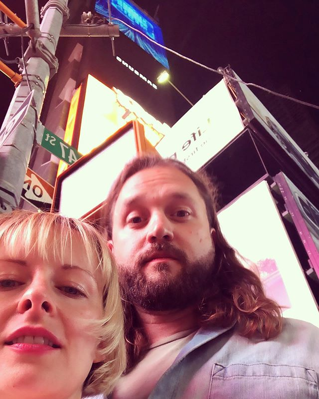 He gets mad that I always cut the top of his head off in photos so this seems fair.  #fullhead #nocroppedheadforyou #sexyjesus #nyc #timessquare #lovers #rightupmynose
