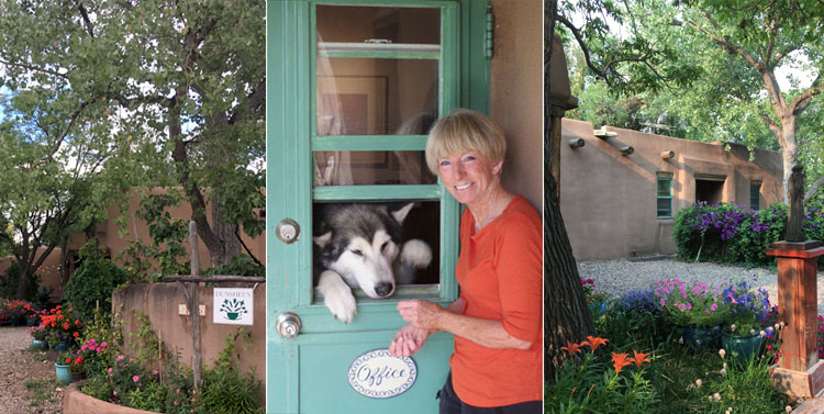 Left: Night view of the B&B main house. Center image: Hostess Susan Dunshee and Brio. Right: Entrance to B&B suite.