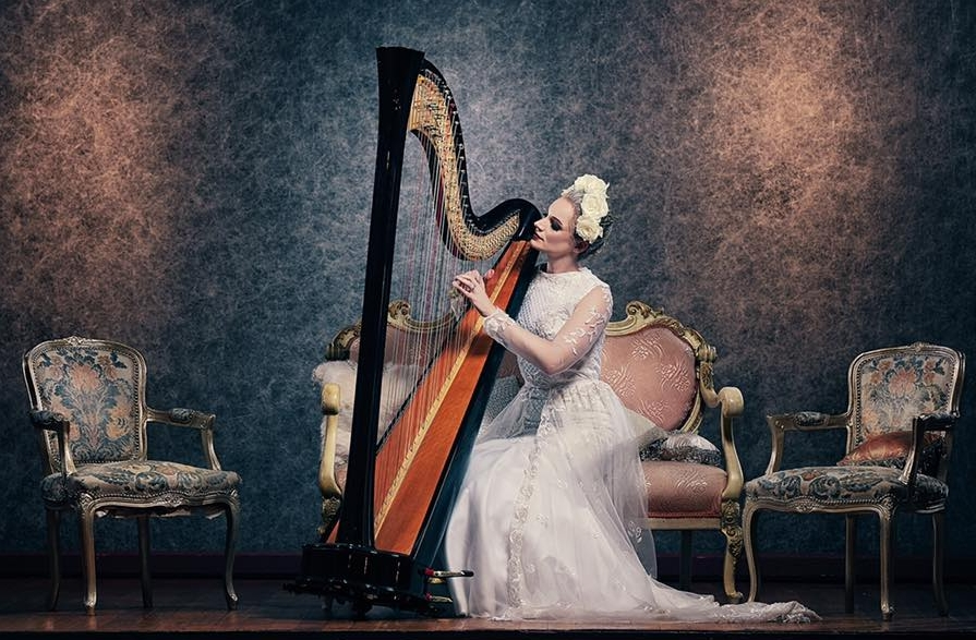 Harpist for a Photo Shoot