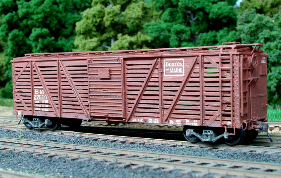 27510 is one of 15 stock cars converted from single sheathed B&M boxcars in 1945. Built by Edward J. Ozog from an F&C kit. Photographed and submitted by Mr. Ozog. Photo 794