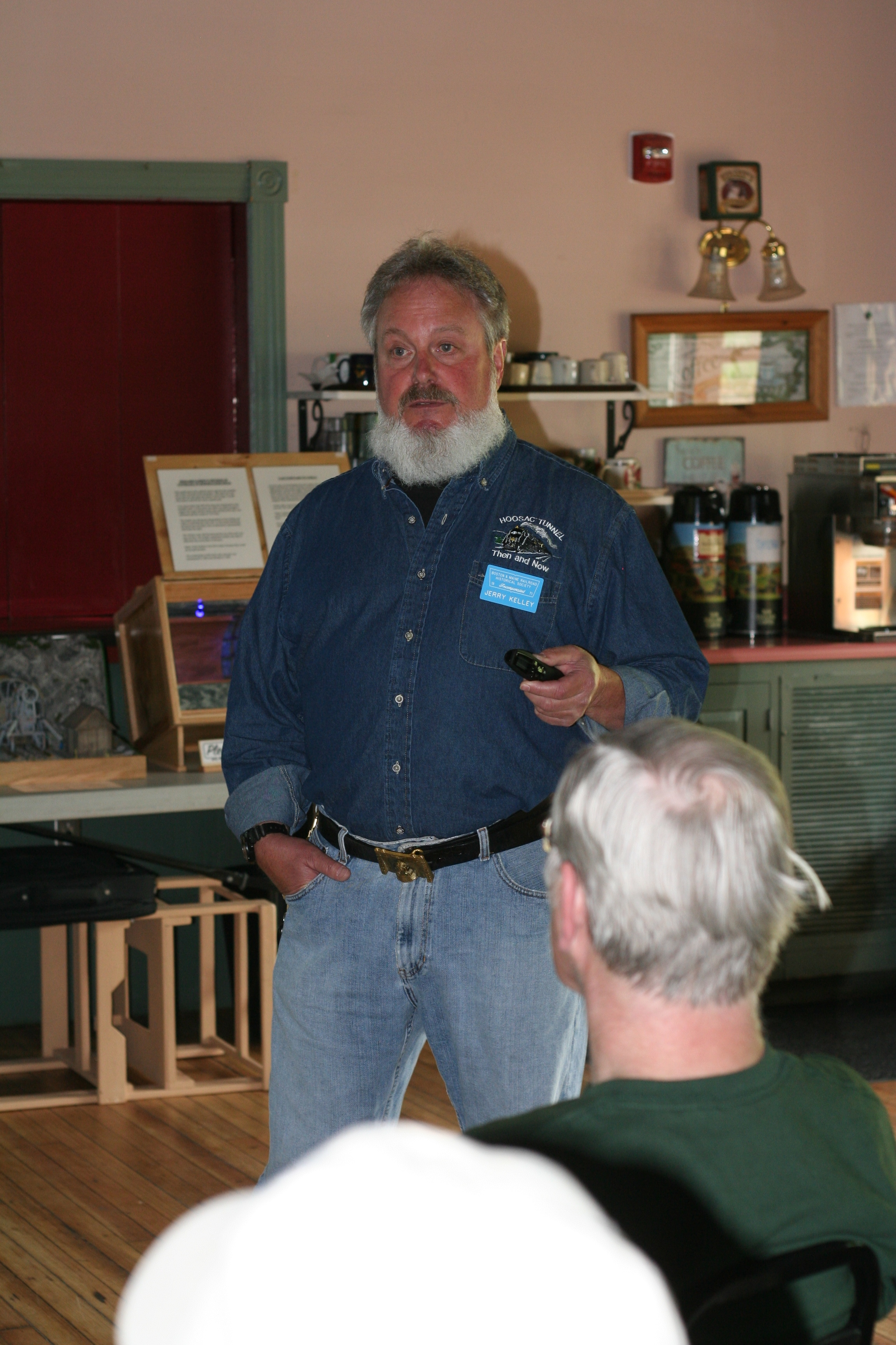 Jerry Kelley describes the construction of the Hoosac Tunnel at B&MRRHS meeting at Plymouth, N.H. depot, May 21, 2016