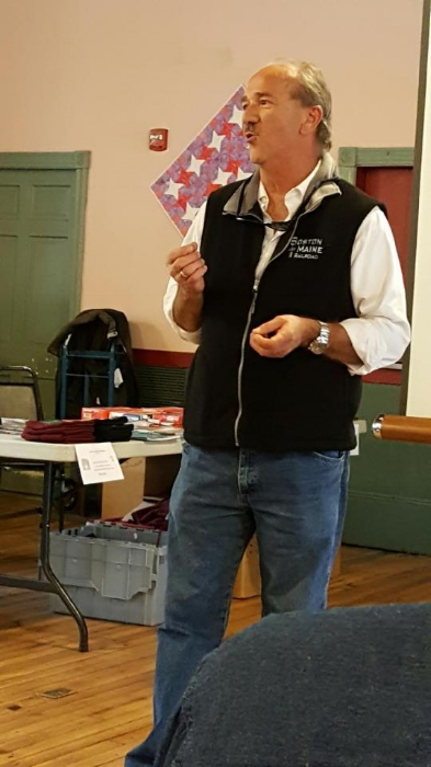 Gregg McFarland, one of the featured speakers at the October 15, meeting, talks about railroading in the Granite State. Chuck Spence photo.