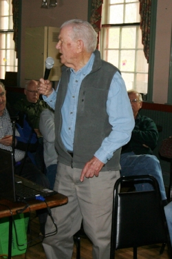 Dwight A. Smith begins his illustrated talk on the B&M in New Hampshire. Rick Nowell photo