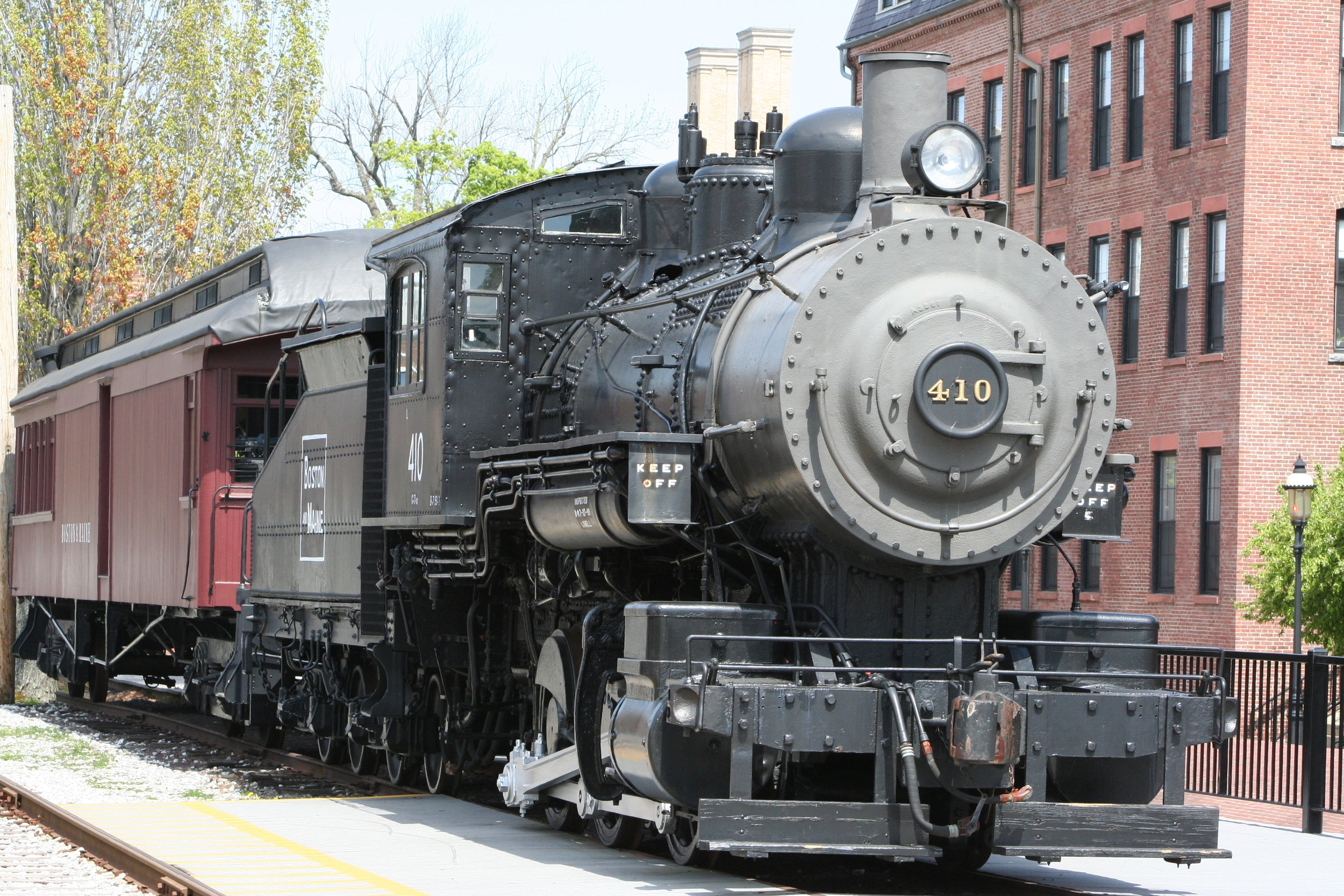 B&M No. 410 (0-6-0), Class G-10-a on display at Lowell, Massachusetts, April 26, 2010