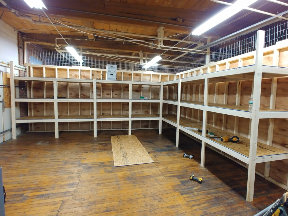 March 11, 2018. New shelving built to accommodate expanded Archives Annex. Jim Nigzus was in charge of the work crew that included Dan Hyde, Fred Brown, Jimmy Nigzus, Richard Nichols, and Paul Kosciolek. Staff photo