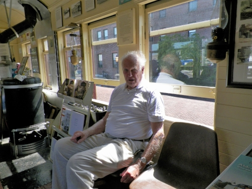 Russ Munroe, noted photographer of the B&M, relaxes in the coach end of the combine. Richard Nichols photo.