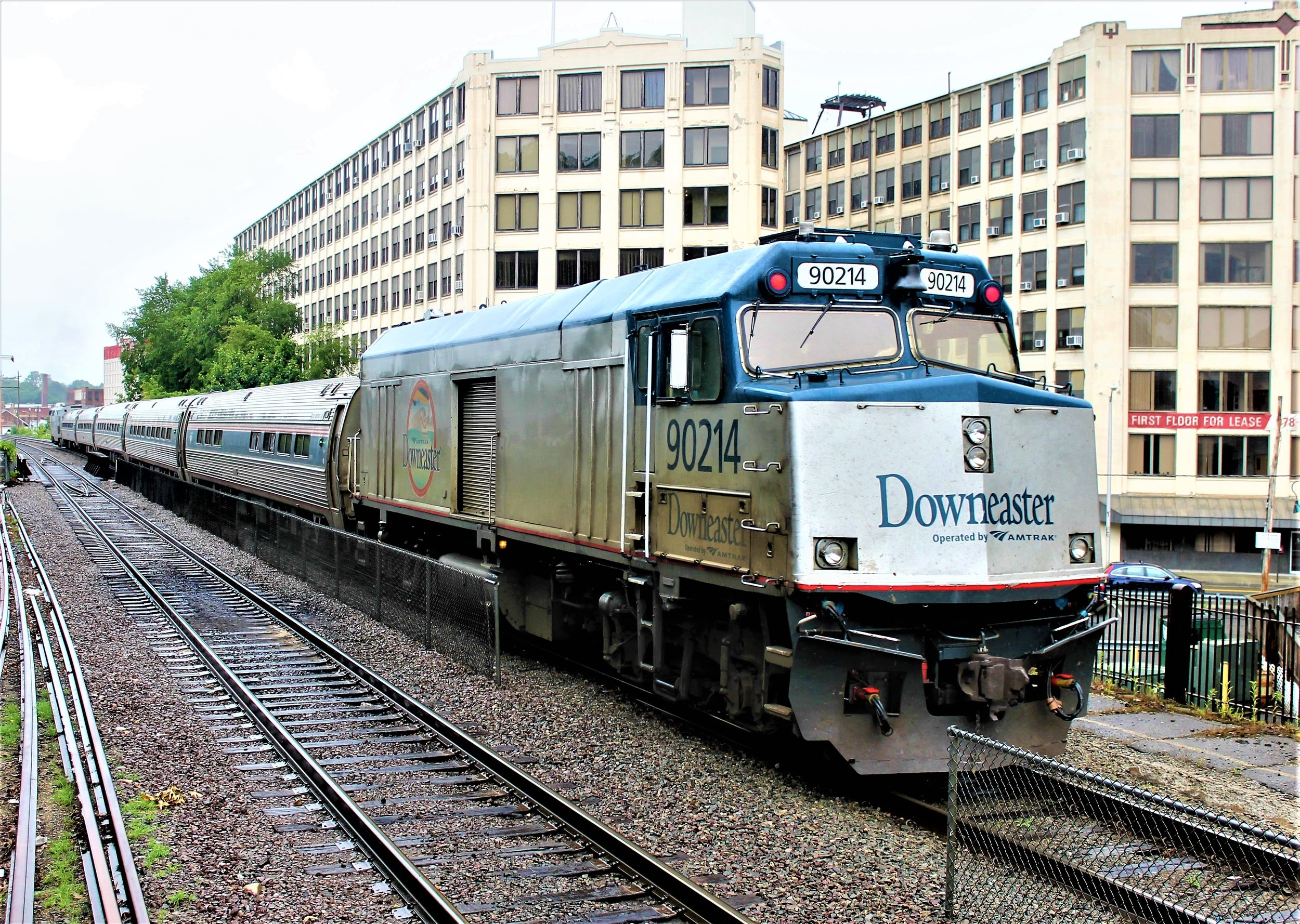 Amtrak No. 693, The  Downeaster , makes station stop at Haverhill, Mass., en route to Portland on July 22, 2018. Mal Sockol photo