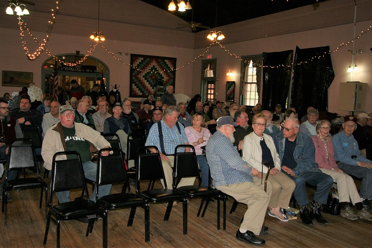 The audience awaits the start of the R.W. Jones program in the former dining hall at Plymouth, N.H. station. B&MRRHS program, May 11, 2019. Staff photo