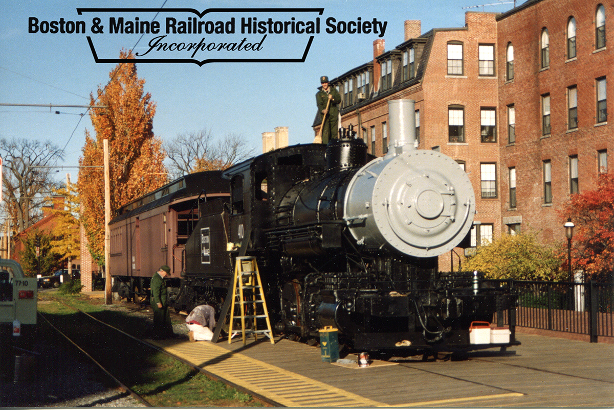 Lowell, MA October 1993 - With #410 in place, the final stages of cosmetic restoration would begin. Jim Nigzus photo.