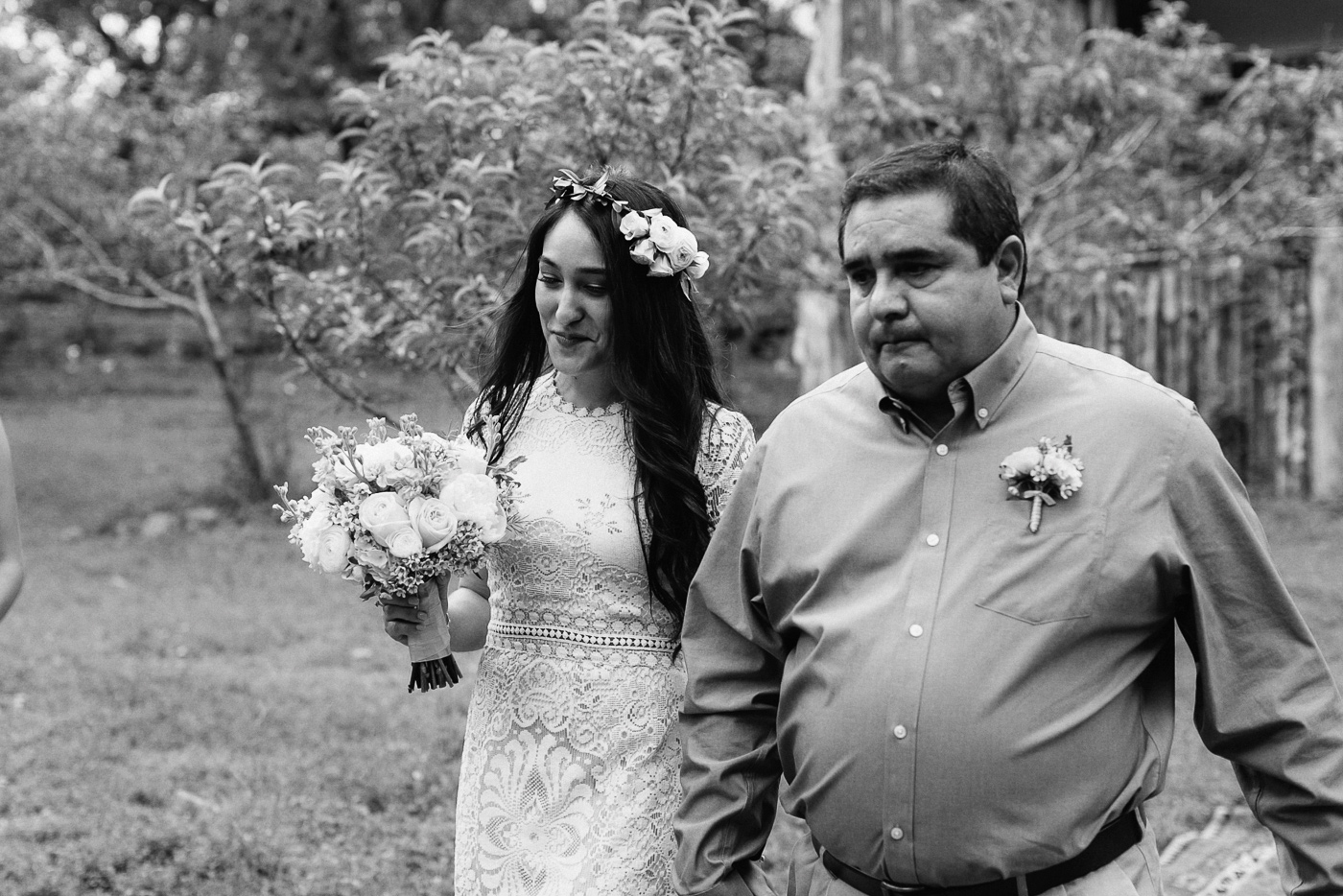 Wimberley Texas Bride and Father Walking Down Aisle Black and White