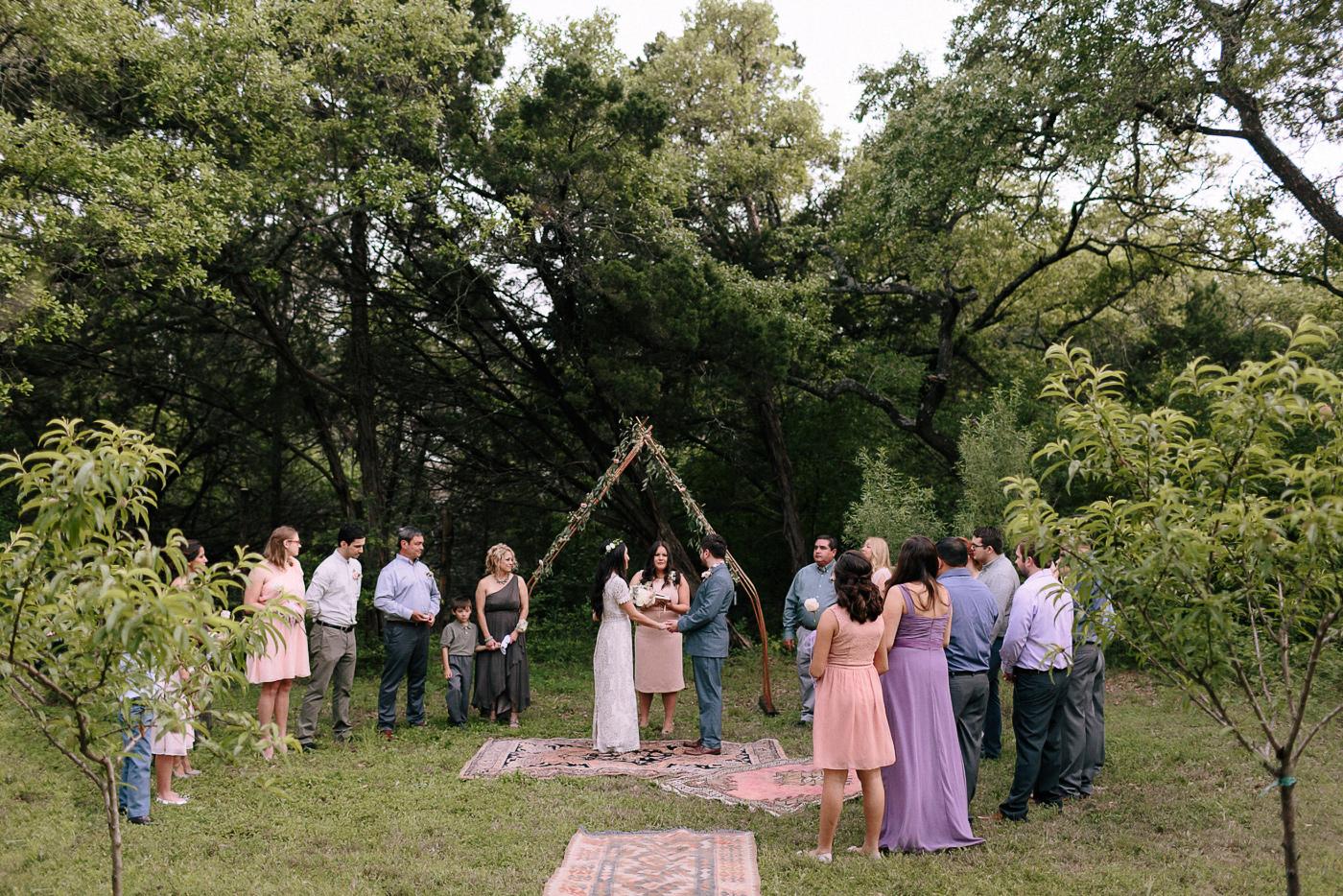 Wimberley Texas Intimate Backyard Wedding Ceremony