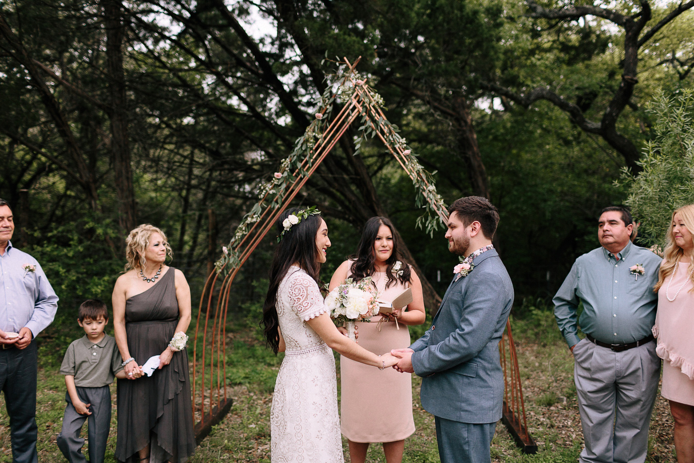 Texas Backyard Wedding Bride and Groom Saying Vows