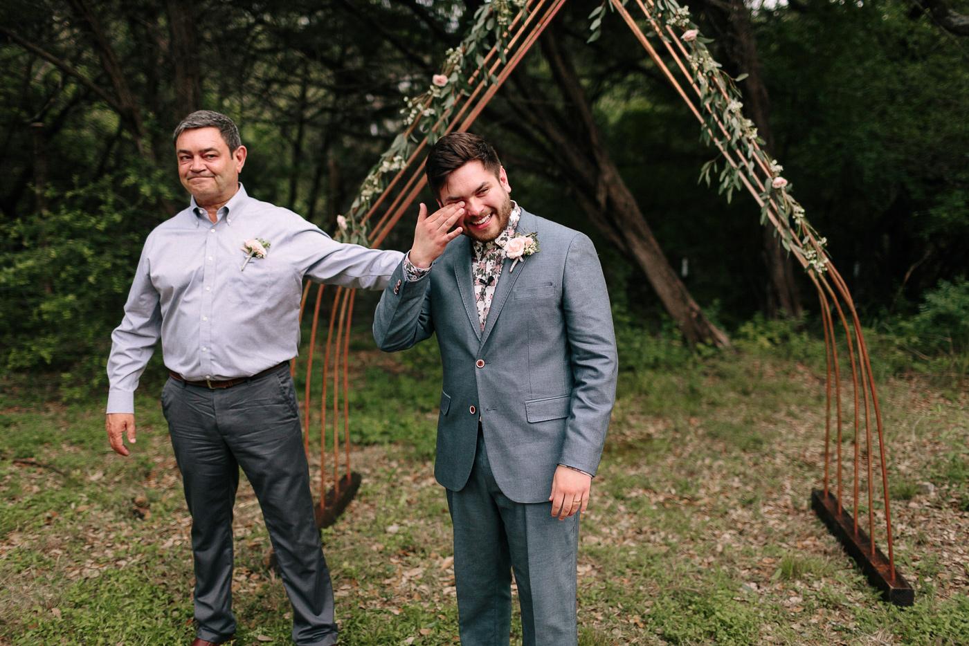Texas Backyard Wedding Groom and Father Emotional Moment