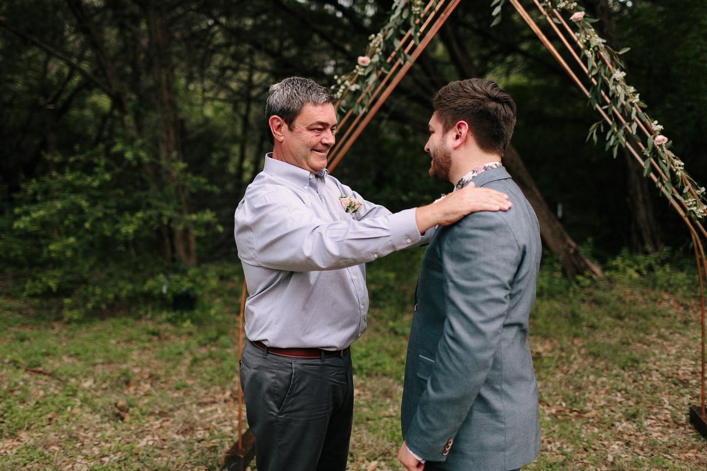 Texas Backyard Wedding Groom and Father