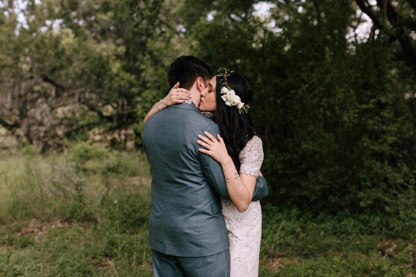 Wimberley Texas Intimate Backyard Wedding Bride and Groom Portraits
