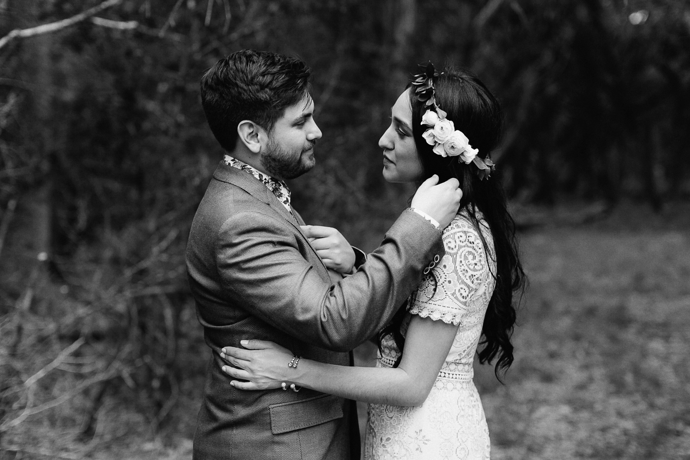 Texas Bride and Groom Portrait Black and White Emotional Moment