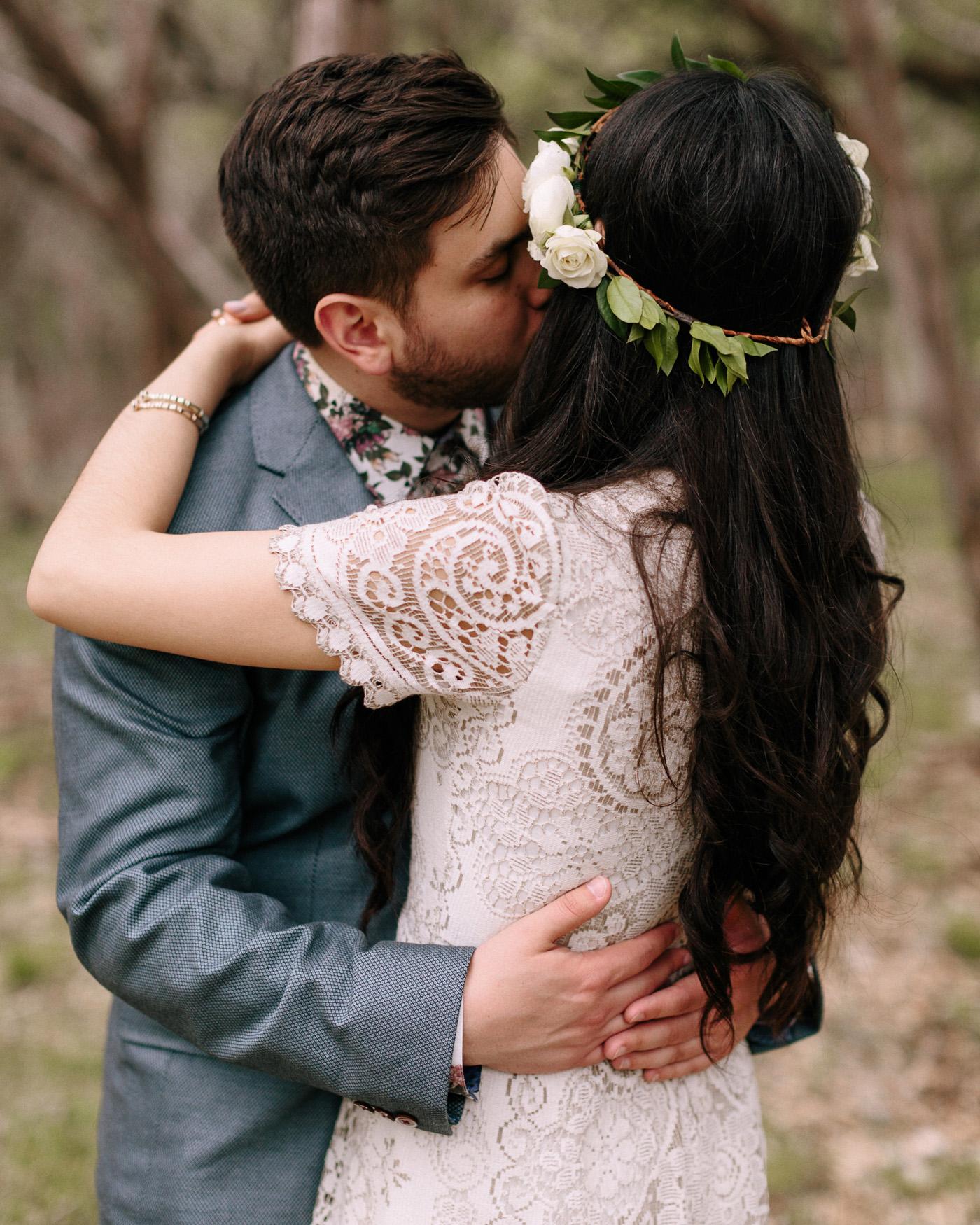 Wimberley Texas Wedding Bride and Groom Embracing