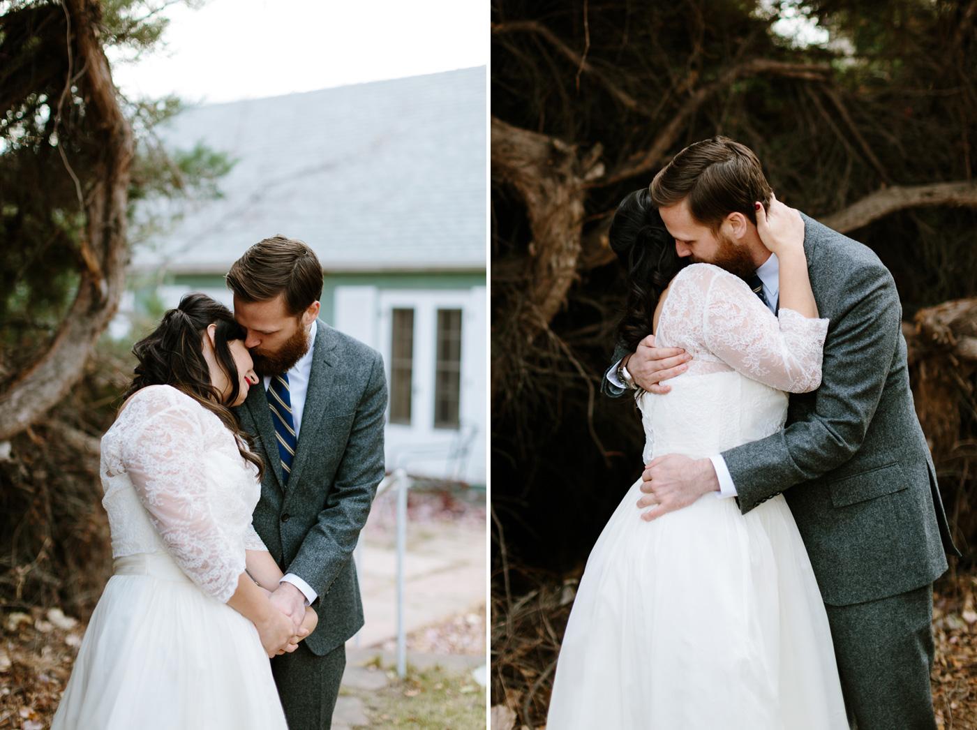 Studios at Overland Crossing Wedding Bride and Groom Embracing