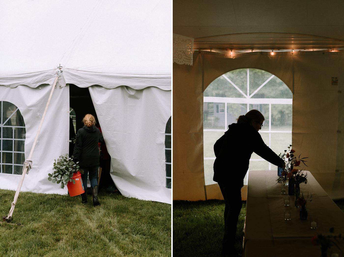 Backyard Wedding Floral Setup