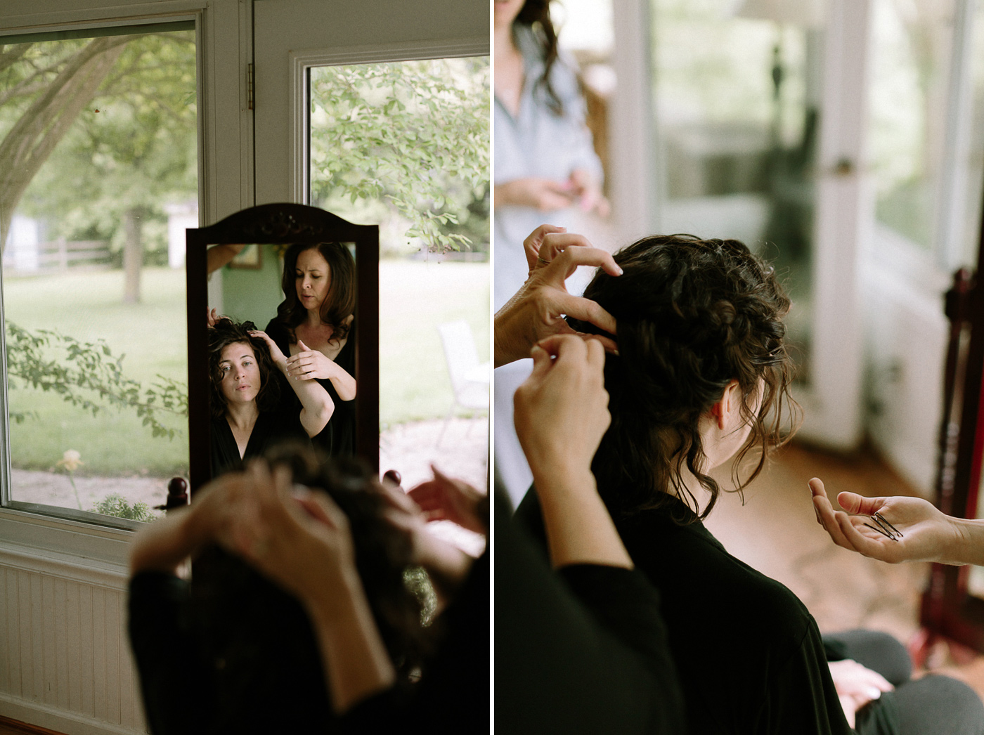 Mom styling her daughter's hair wedding day