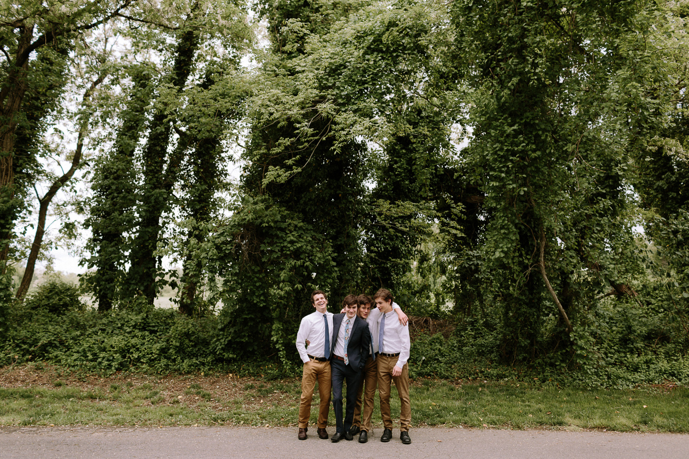 Groom and groomsmen backyard