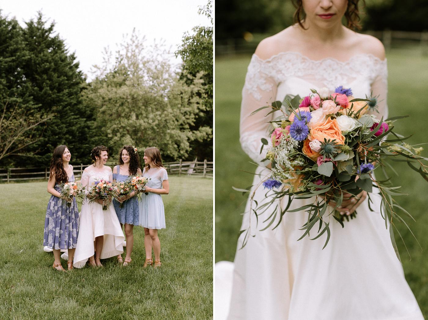 Bride and bridesmaids portraits florals