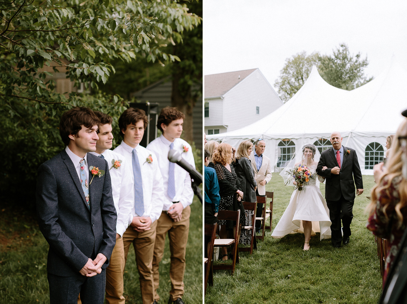 Groom watching bride and father walking down aisle