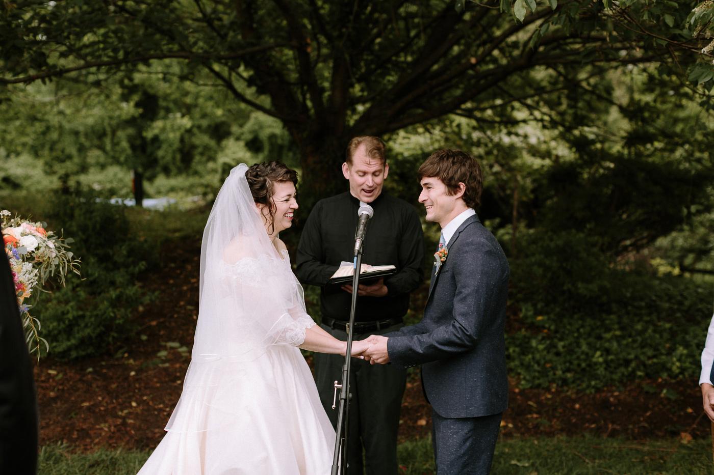 Hannah and Houston backyard wedding ceremony