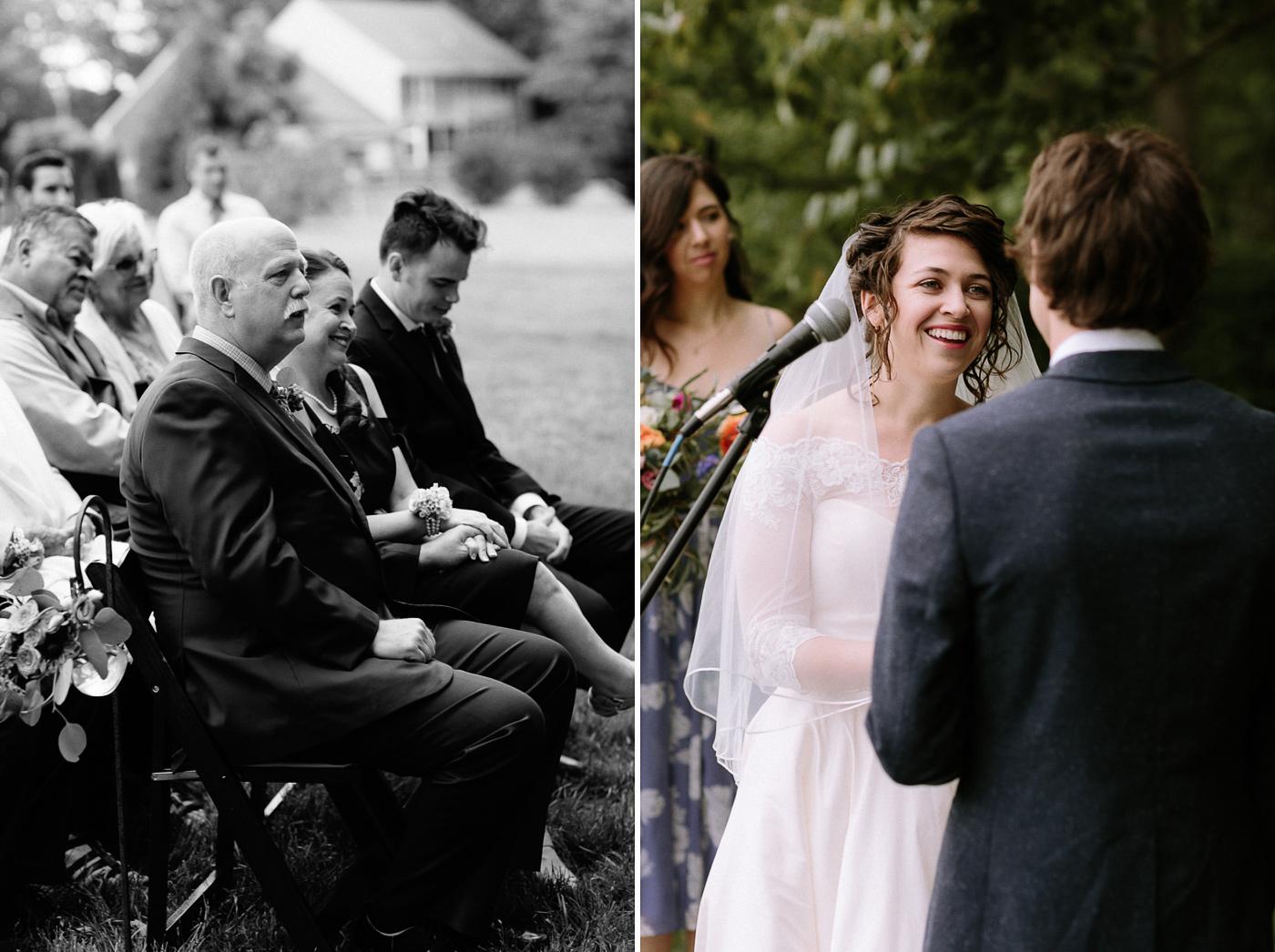 Bride's parents watching ceremony vows