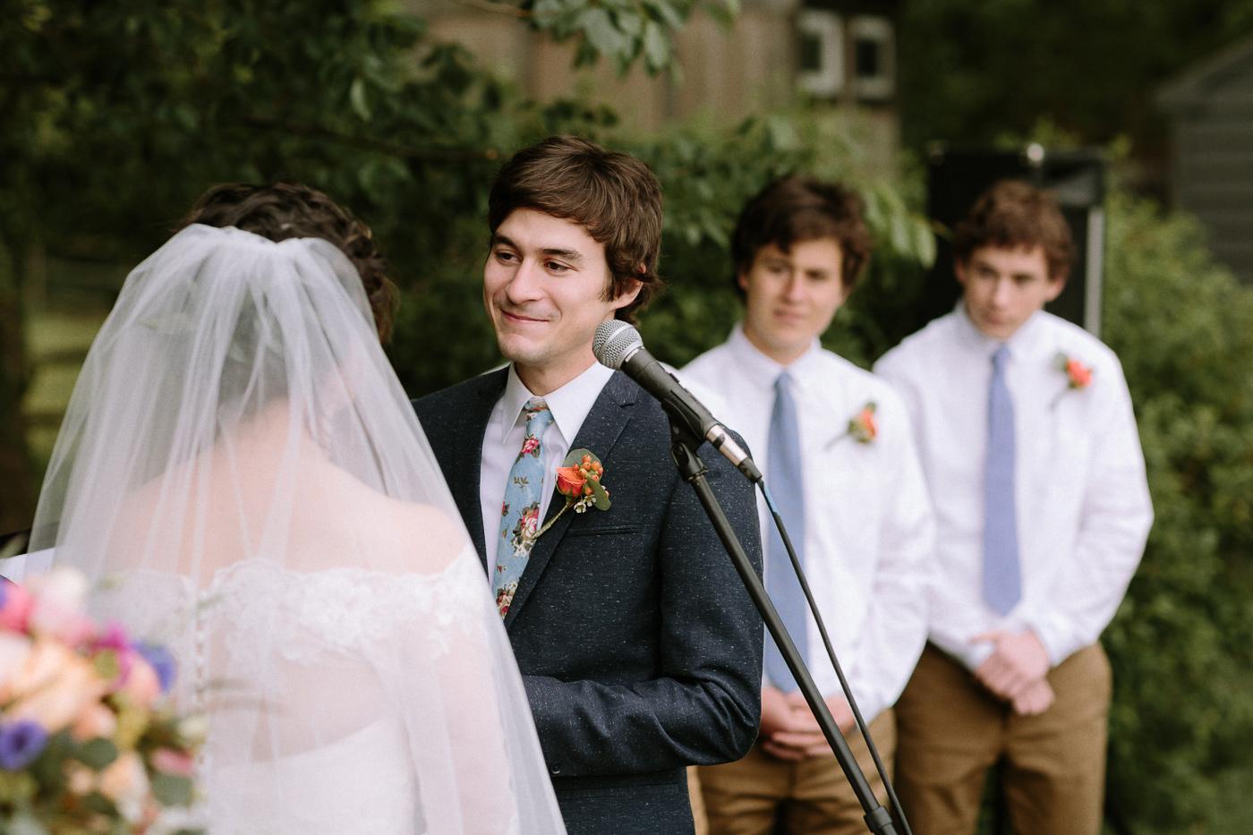 Groom sharing wedding vows