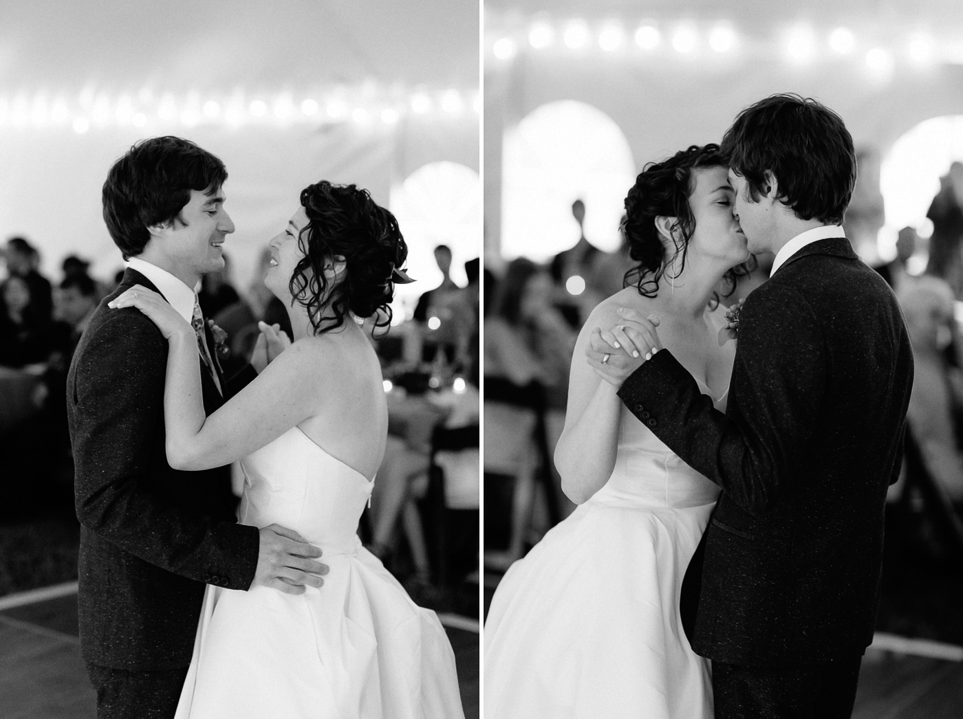 Bride and groom first dance laughing and kissing