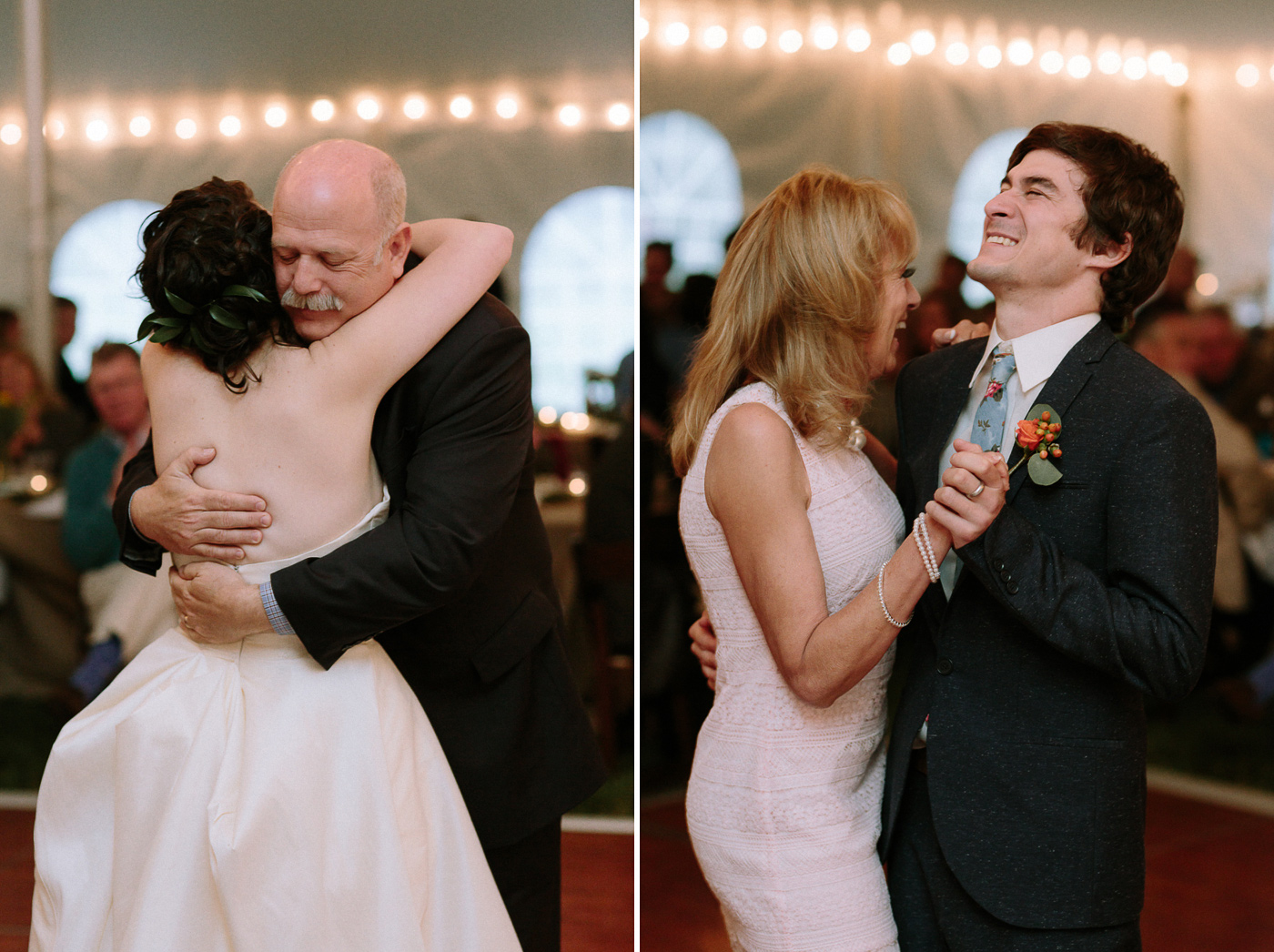 Bride and groom dancing with parents