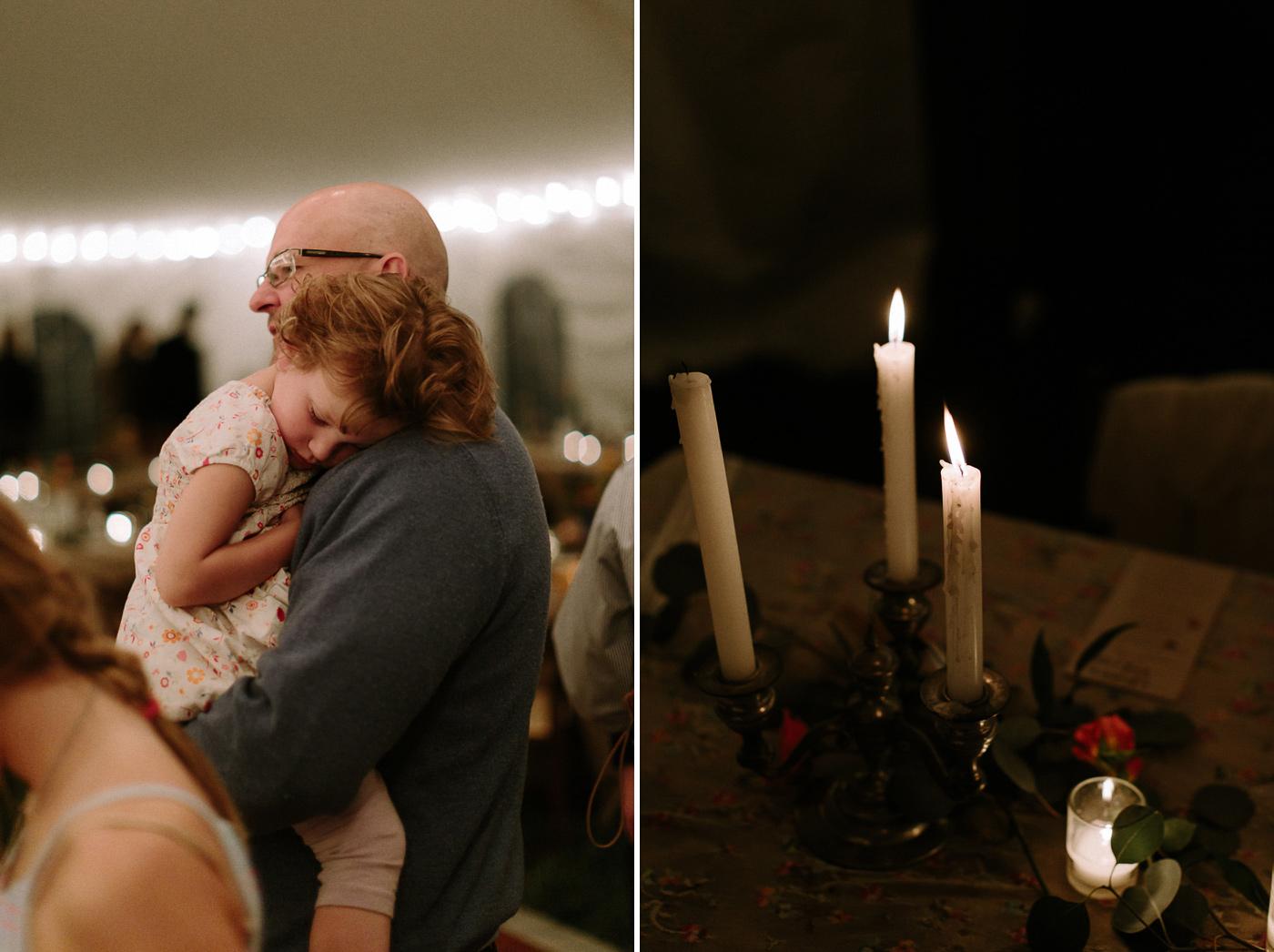 Little girl sleeping candles