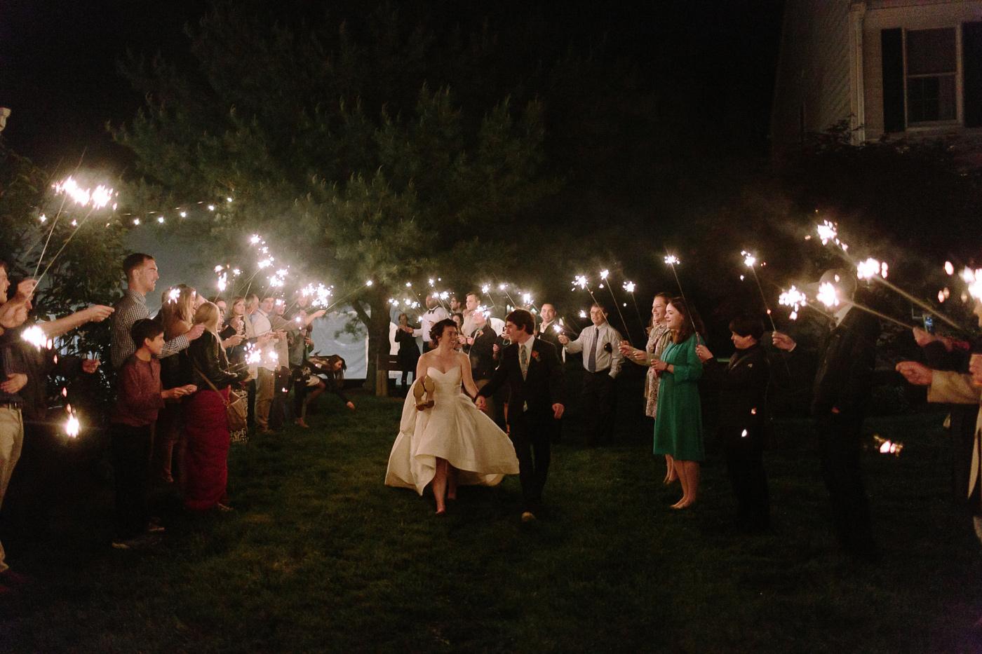 Bride and groom sparkler sendoff