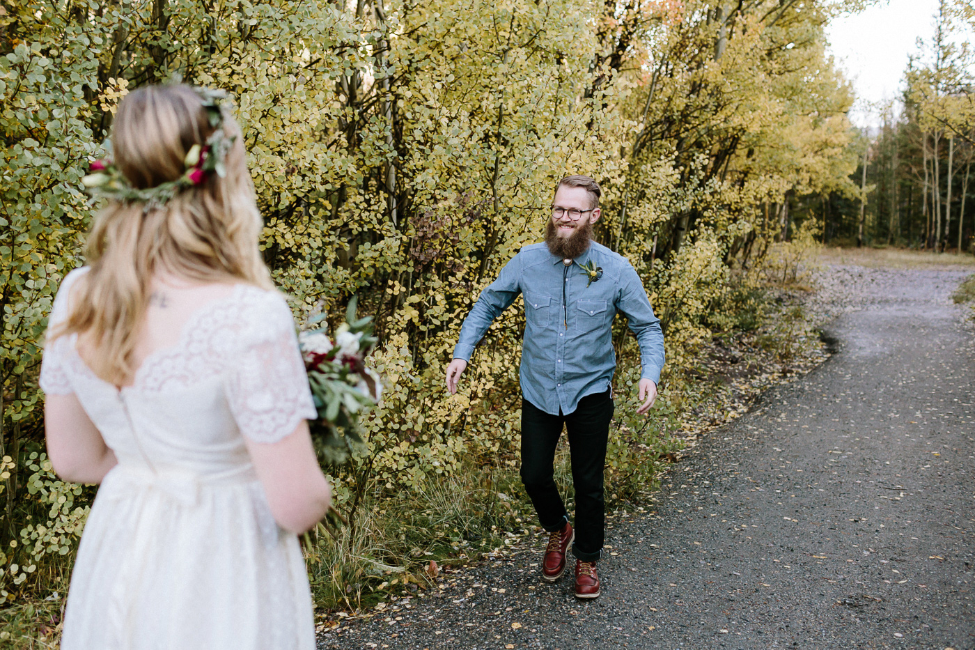 Guanella Pass first look bride and groom