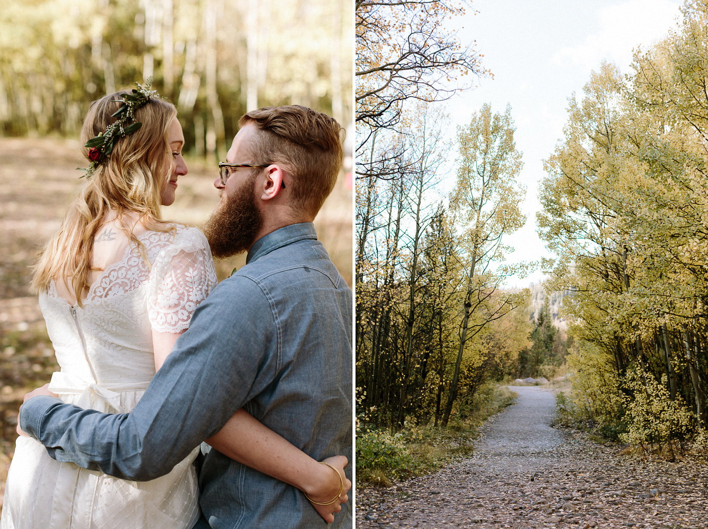 Bride and groom sitting path through woods