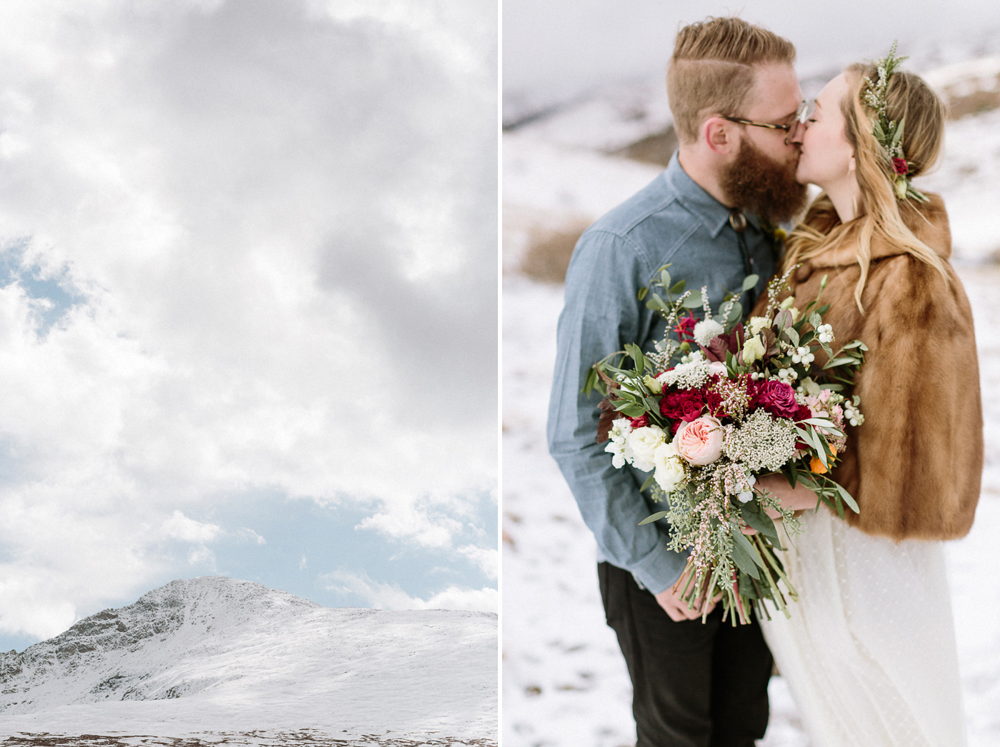Guanella Pass bride and groom kissing with flowers