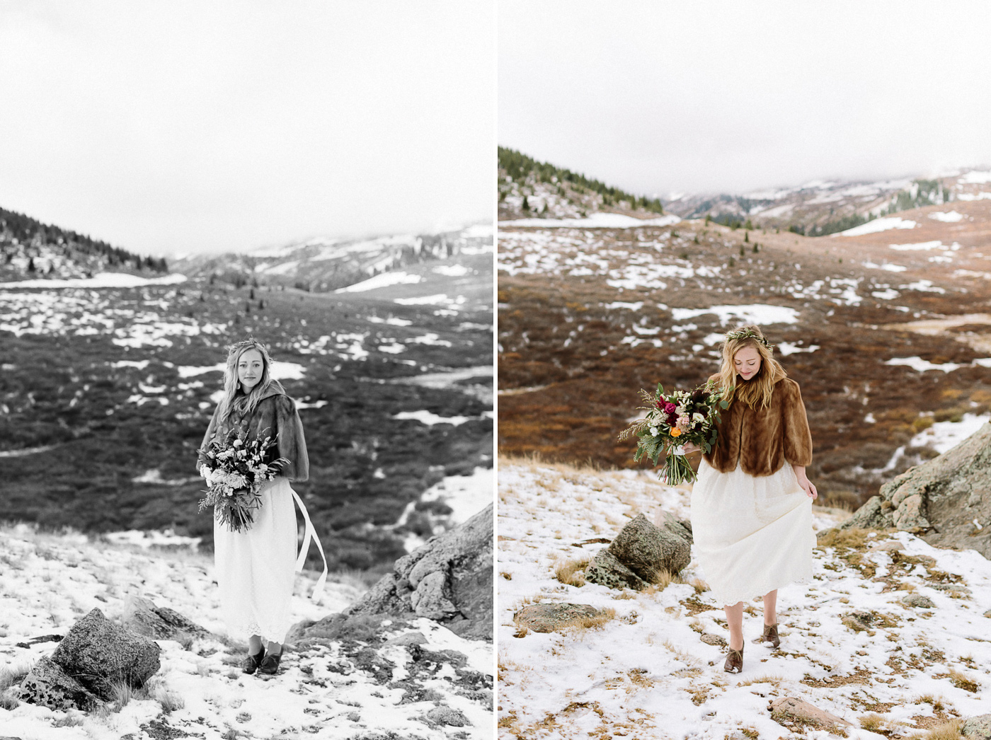 Guanella Pass bride with flowers
