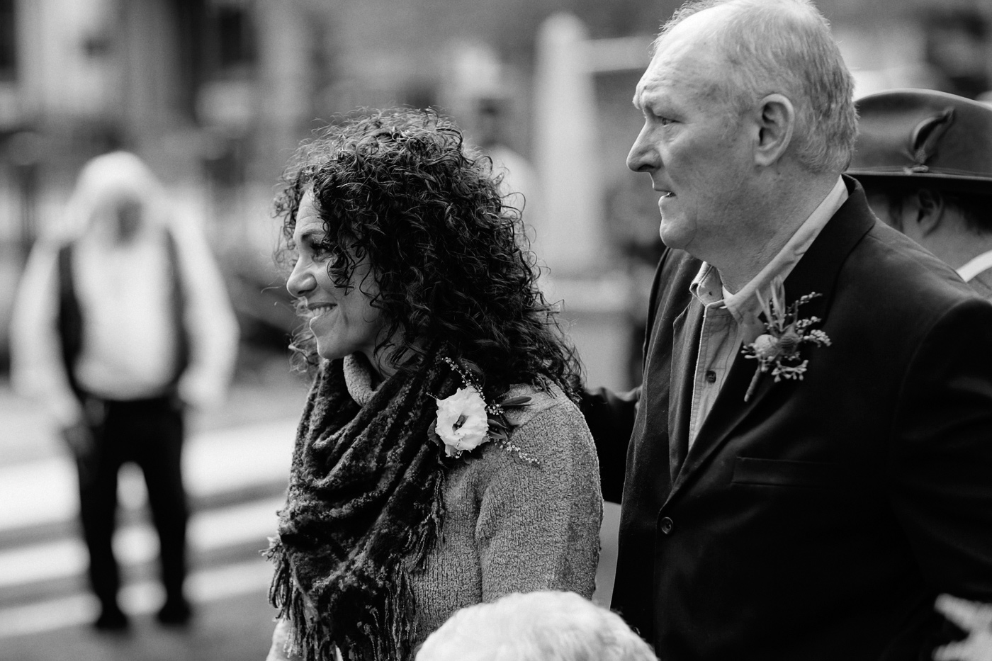Parents smiling during ceremony