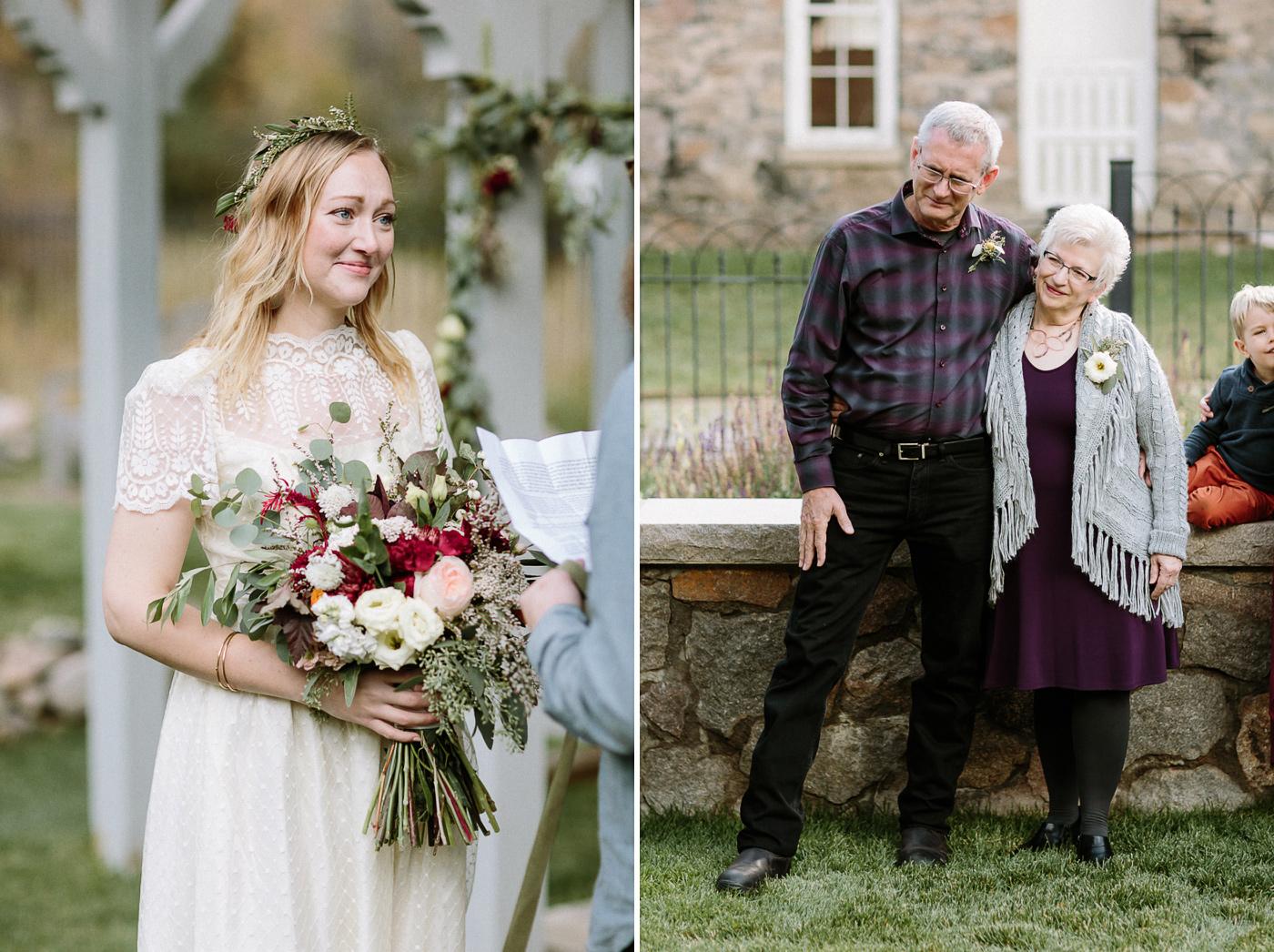Bride smiling during vows