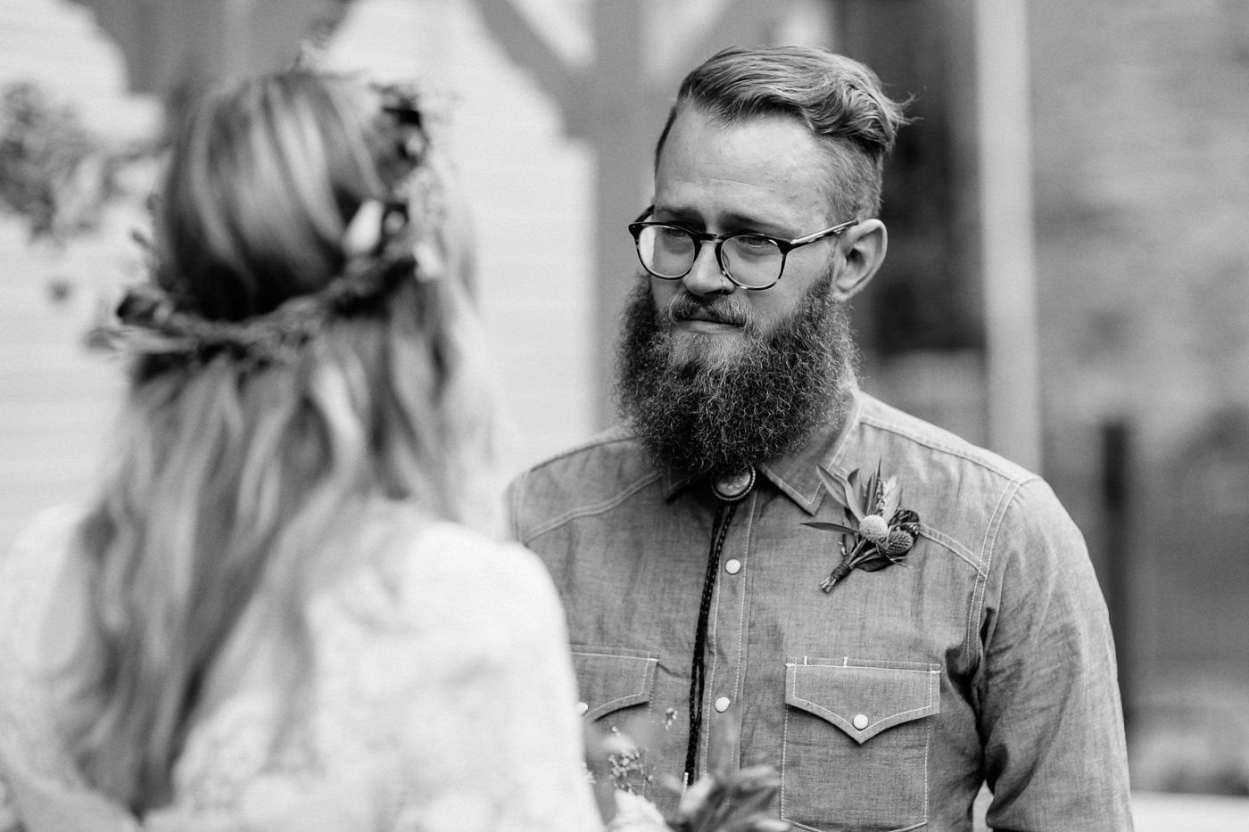 Groom tearing up during vows