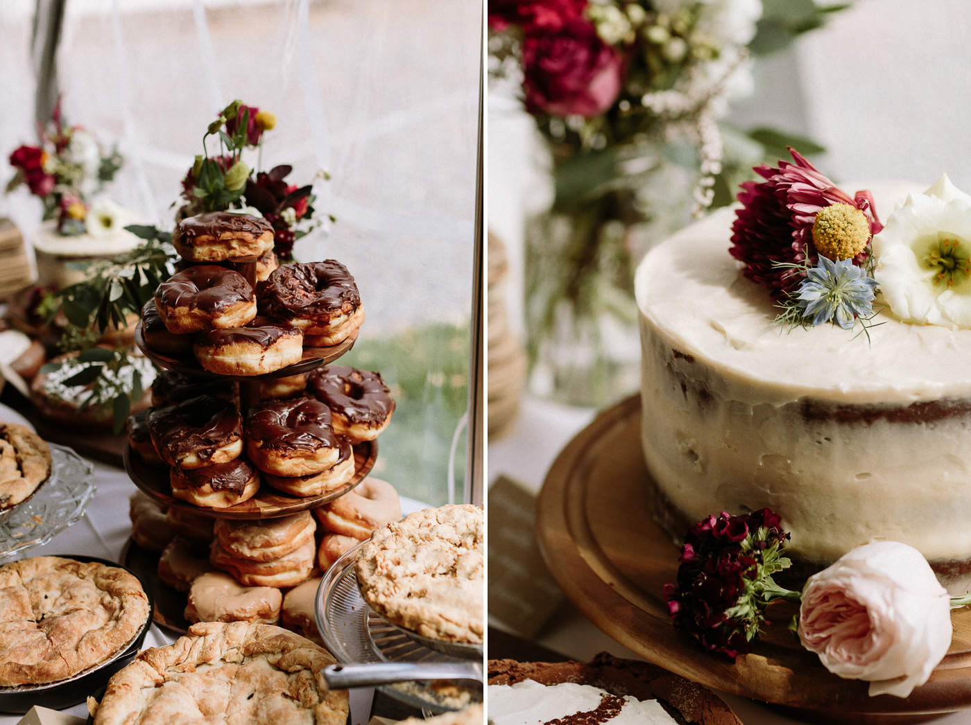 Dessert table donuts cake