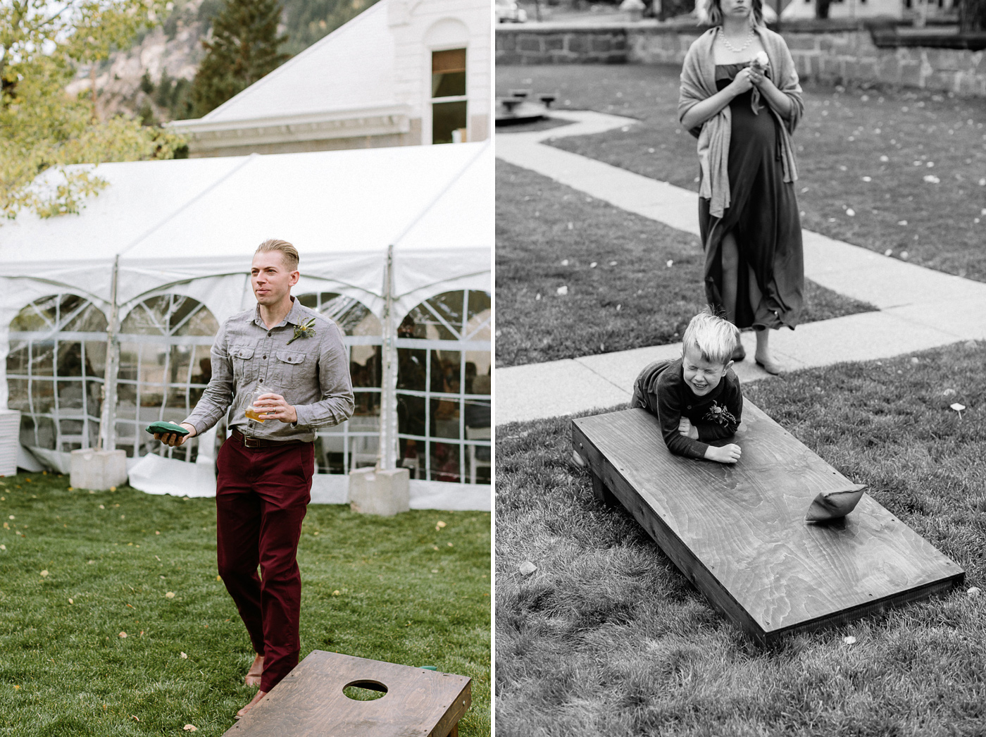 Playing cornhole during wedding reception